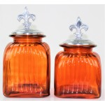 40003 AMBER 2PC. CANISTER SET WITH LIDS